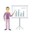 Business man character pointing at charts vector image