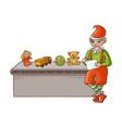 flat elf boy checking present toys vector image