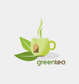 green tea organic drink logo vector image