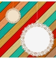 Lace frame on colorful wooden background EPS8 vector image