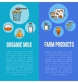 Organic dairy products vertical flyers vector image