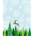 Running deer in the christmas forest vector image