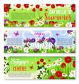 summer flower greeting banner set design vector image