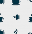 tea coffee icon sign Seamless pattern with vector image