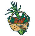 wicker basket with vegetables vector image