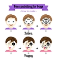 Face painting boys 3 vector image