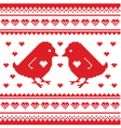 Valentines Day love pixelated card with birds on vector image