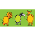 Set of oval frames - animals -lion zebra giraff vector image