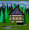 house in a dense forest easy editable vector image