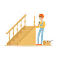 carpenter building a wooden staircase woodworker vector image