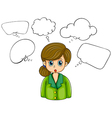 A girl with many empty callouts vector image vector image