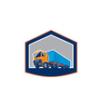 Container Truck and Trailer Shield Retro vector image vector image