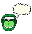 cartoon halloween mouth with speech bubble vector image
