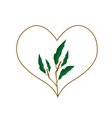 Evergreen Leaves in A Heart Shape Frame vector image vector image