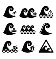 Tsunami big wave warning neutral disaster icons vector image
