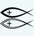 Christian fish symbol with cross vector image