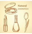 Sketch beauty equipment with tulip vector image