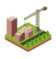 Cranes and building houses vector image