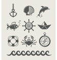 Sea and marine symbol set vector image vector image