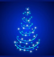 abstract christmas tree in blue background vector image