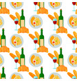 french cuisine croissant wine glass seamless vector image