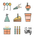 happy birthday wish celebration time day icons vector image
