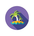 Island with palm trees flat icon long shadow vector image