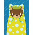 Little dog in a raincoat in the rain vector image