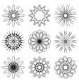 Set of contour spirographic symbols vector image