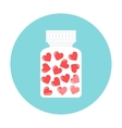 Heart Pills in White Container Love Therapy vector image