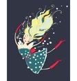 Flying Beautiful Gir with Cosmetics Cartoon vector image