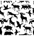 seamless pattern of wild animals and birds vector image vector image