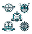 nautical retro badge set marine heraldry design vector image