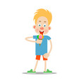 the boy is eating ice cream vector image