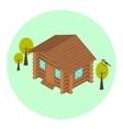 Wood log isometric house icon vector image