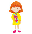 Little girl with rabbit doll vector image
