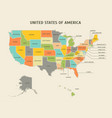 cartoon colorful usa map card poster vector image
