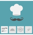 Chef hat with moustache Icon set Silver platter vector image