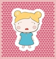 Cute Blonde Cartoon Cry Baby Girl vector image