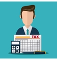 Document and man icon Tax and Financial item vector image
