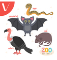 Letter V Cute animals Funny cartoon animals in vector image