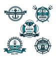nautical retro badge set marine heraldry design vector image