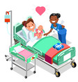 nurse with baby doctor or nurse patient isometric vector image