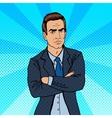 Serious Businessman Confident Boss Pop Art vector image