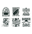 monochrome vintage barber shop logos set vector image