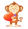 Cute toy Monkey pet isolated holding heart vector image vector image