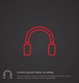 headphones outline symbol red on dark background vector image