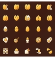 Yellow glossy eggs icons vector image