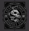 Skull with snake t-shirt design vector image vector image