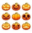Halloween Cartoon Pumpkins Icons Set vector image